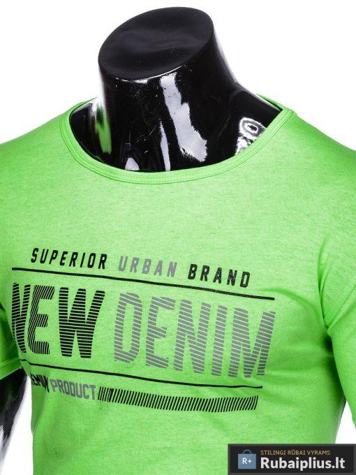 Stilingi žali vyriškimarškinėliai suužrašais Denim vyrams internetu pigiau S1054Z apykaklė