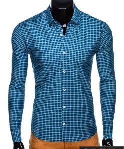 Tamsiai mėlyni-žali languoti vyriški marškiniai ilgomis rankovėmis vyrams internetu pigiau K453TMZ priekis
