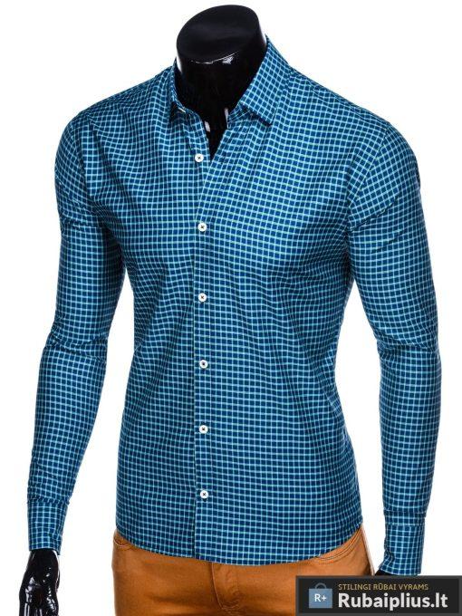 Tamsiai mėlyni-žali languoti vyriški marškiniai ilgomis rankovėmis vyrams internetu pigiau K453TMZ kairė