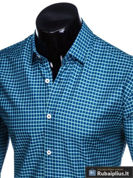Tamsiai mėlyni-žali languoti vyriški marškiniai ilgomis rankovėmis vyrams internetu pigiau K453TMZ apykaklė
