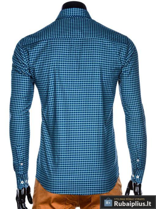 Tamsiai mėlyni-žali languoti vyriški marškiniai ilgomis rankovėmis vyrams internetu pigiau K453TMZ nugara