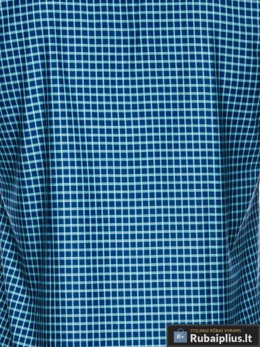 Tamsiai mėlyni-žali languoti vyriški marškiniai ilgomis rankovėmis vyrams internetu pigiau K453TMZ audinys