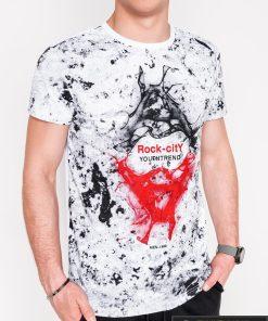 Madingi balti vyriški marškinėliai su aplikacija vyrams internetu pigiau S1064B priekis