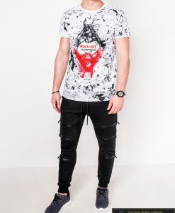 Madingi balti vyriški marškinėliai su aplikacija vyrams internetu pigiau S1064B žmogus