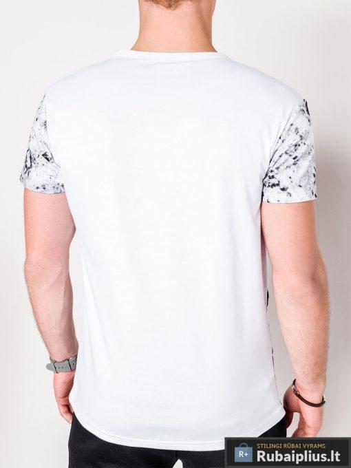 Madingi balti vyriški marškinėliai su aplikacija vyrams internetu pigiau S1064B nugara