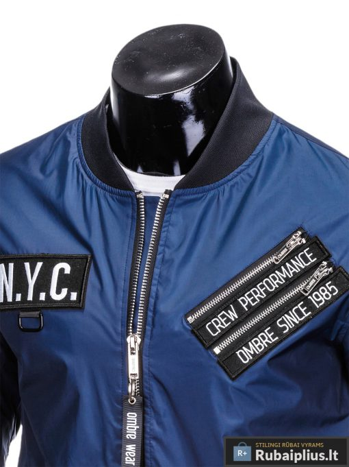 Vyriska pavasarine tamsiai mėlyna striukė vyrams internetu pigiau C349TM apykaklė