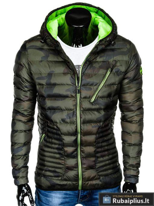 Vyriska pavasarine dygsniuota žalia kamufliažinė striukė vyrams internetu pigiau C377ZCAM priekis