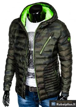 Vyriska pavasarine dygsniuota žalia kamufliažinė striukė vyrams internetu pigiau C377ZCAM kairė