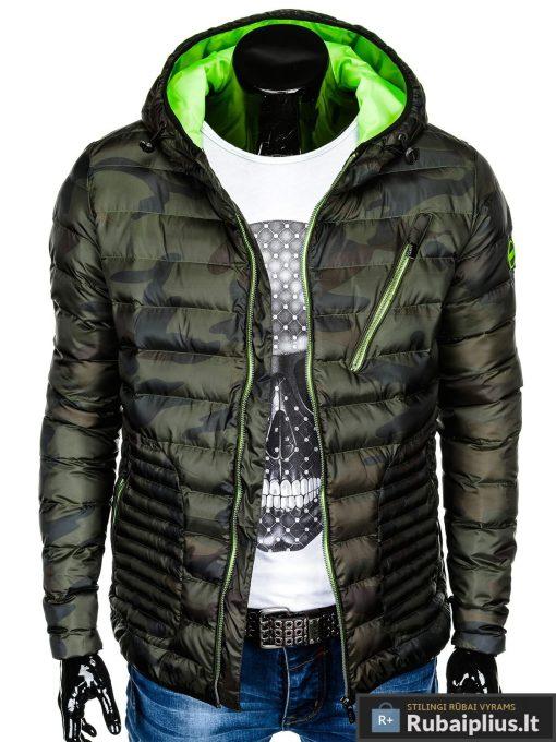 Vyriska pavasarine dygsniuota žalia kamufliažinė striukė vyrams internetu pigiau C377ZCAM prasegta