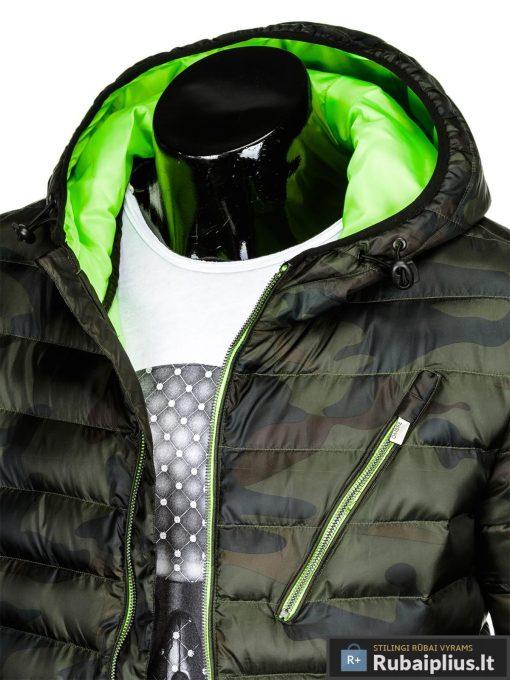 Vyriska pavasarine dygsniuota žalia kamufliažinė striukė vyrams internetu pigiau C377ZCAM apykaklė
