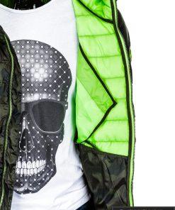 Vyriska pavasarine dygsniuota žalia kamufliažinė striukė vyrams internetu pigiau C377ZCAM vidus