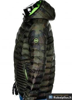 Vyriska pavasarine dygsniuota žalia kamufliažinė striukė vyrams internetu pigiau C377ZCAM šonas