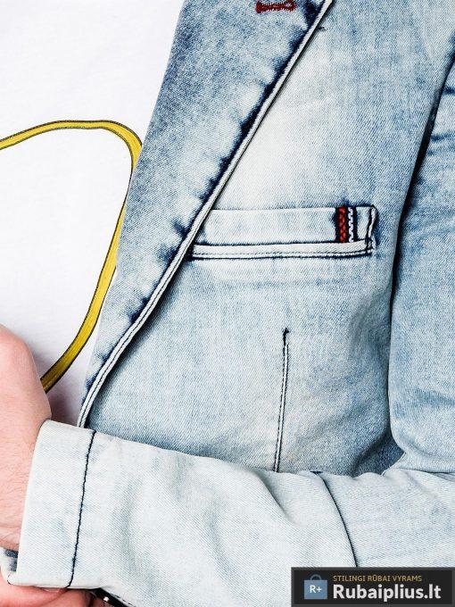 Madingas džinsinis vyriškas švarkas bleizeris vyrams internetu pigiau M115JEANS apykaklė