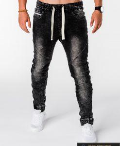 Viriski jogger juodi džinsai vyrams internetu pigiau P174J priekis