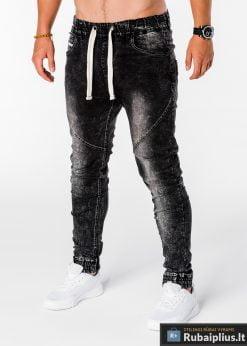 Viriski jogger juodi džinsai vyrams internetu pigiau P174J kairė