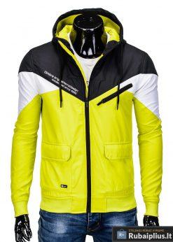 Vyriska pavasarine juoda-geltona striukė vyrams internetu pigiau C316JG priekis
