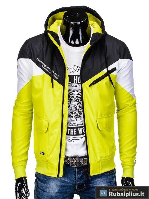 Vyriska pavasarine juoda-geltona striukė vyrams internetu pigiau C316JG prasegta