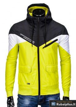 Vyriska pavasarine juoda-geltona striukė vyrams internetu pigiau C316JG užsegta