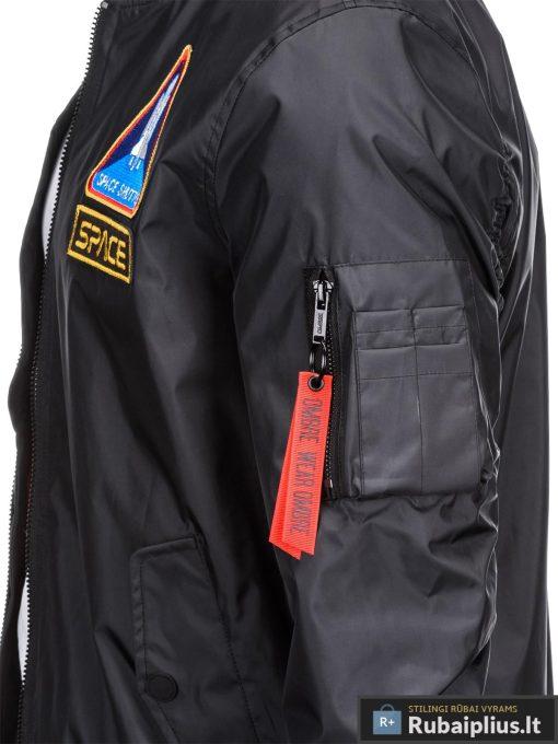 Vyriska pavasarine juoda striukė vyrams bomber internetu pigiau C351J kišenė