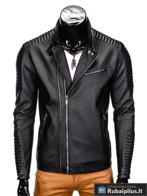 Vyriska pavasarine juoda striukė vyrams dirbtinės odos internetu pigiau C325J priekis