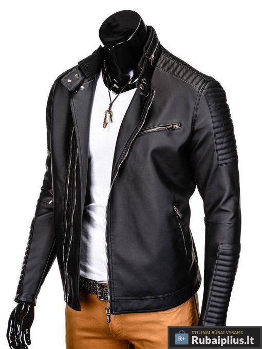 Vyriska pavasarine juoda striukė vyrams dirbtinės odos internetu pigiau C325J kairė