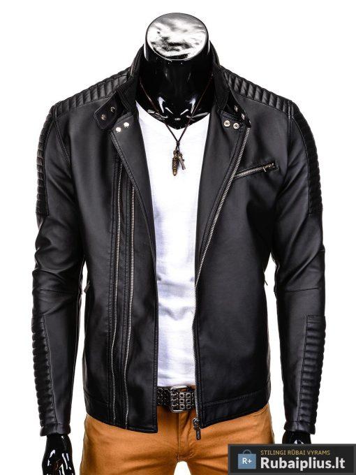 Vyriska pavasarine juoda striukė vyrams dirbtinės odos internetu pigiau C325J prasegta