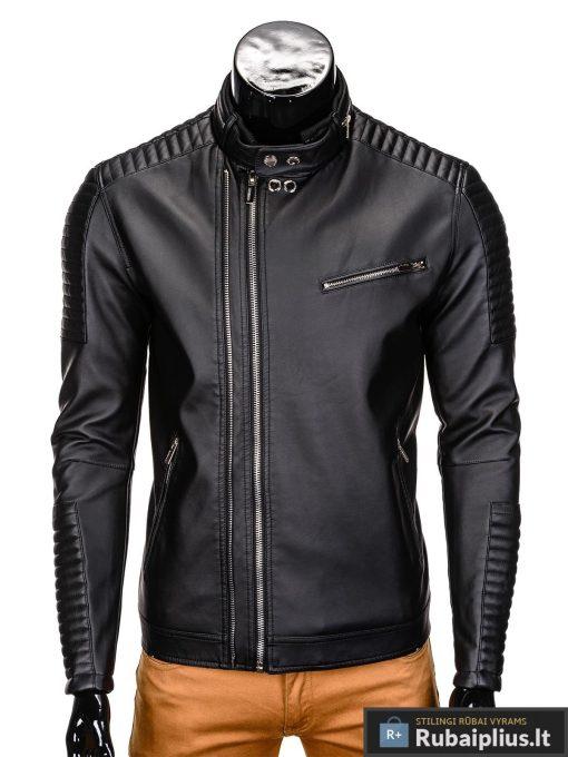 Vyriska pavasarine juoda striukė vyrams dirbtinės odos internetu pigiau C325J užsegta
