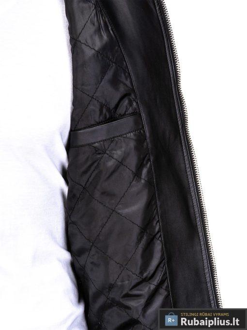 Vyriska pavasarine juoda striukė vyrams dirbtinės odos internetu pigiau C325J vidus