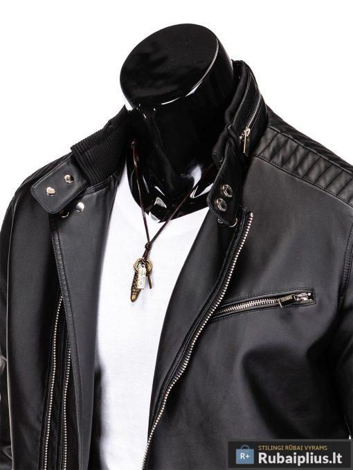 Vyriska pavasarine juoda striukė vyrams dirbtinės odos internetu pigiau C325J apykaklė