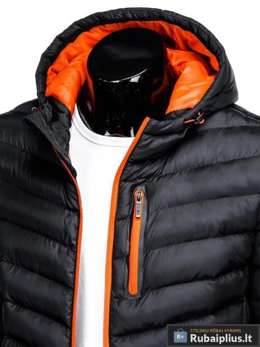 Vyriska rudenine juoda striukė vyrams pavasariui C356J apykaklė