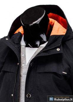 Vyriska pavasarine juoda striukÄ— vyrams prailginta gale internetu pigiau C310J apykaklÄ—