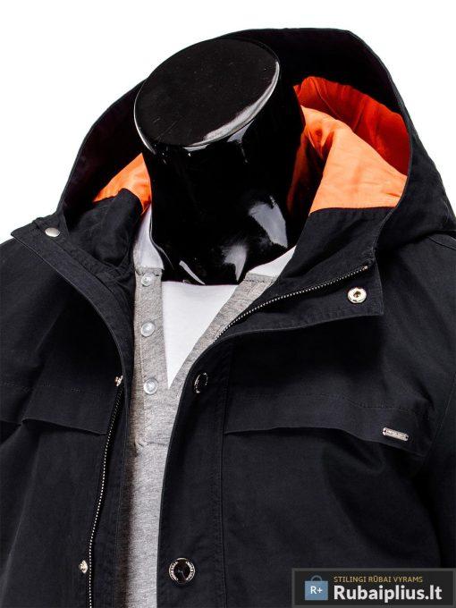 Vyriska pavasarine juoda striukė vyrams prailginta gale internetu pigiau C310J apykaklė