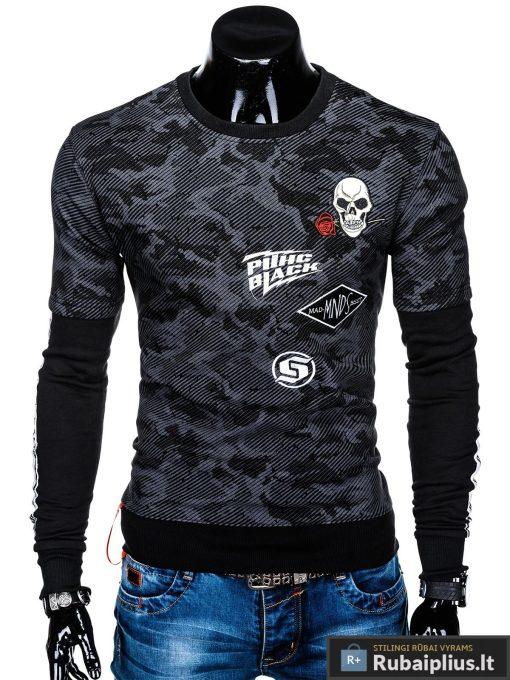 Madingas juodas vyriškas džemperis su aplikacijomis vyrams internetu pigiau B947J priekis