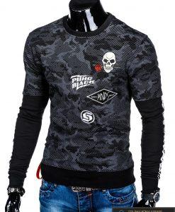 Madingas juodas vyriškas džemperis su aplikacijomis vyrams internetu pigiau B947J kairė