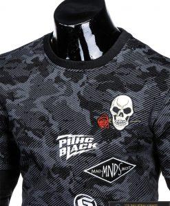 Madingas juodas vyriškas džemperis su aplikacijomis vyrams internetu pigiau B947J apykaklė