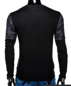 Madingas juodas vyriškas džemperis su aplikacijomis vyrams internetu pigiau B947J nugara