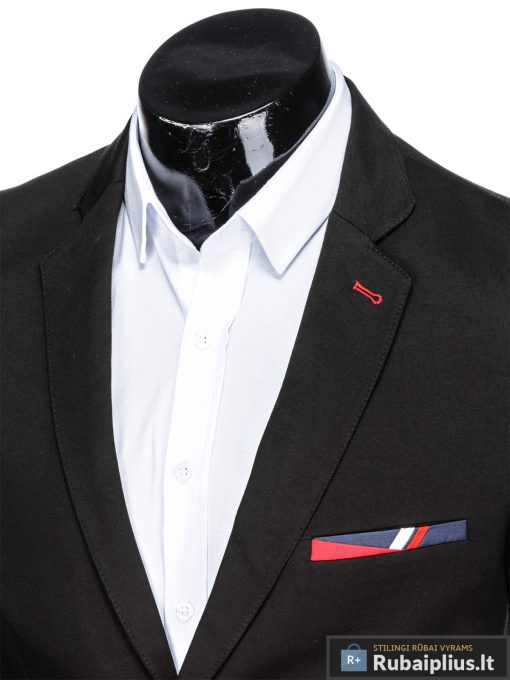 Stilingas juodas vyriškas švarkas bleizeris vyrams internetu pigiau M77J apykaklė