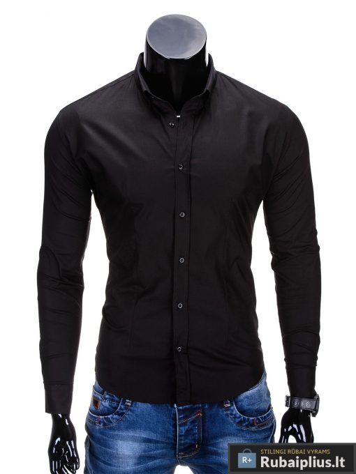 Klasikiniai vyriski juodi marškiniai vyrams ilgomis rankovėmis internetu pigiau K219J priekis