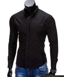 Klasikiniai vyriski juodi marškiniai vyrams ilgomis rankovėmis internetu pigiau K219J kairė