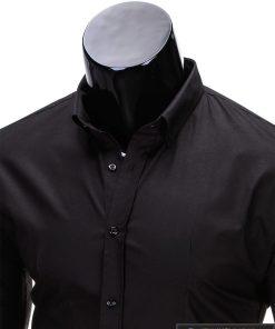 Klasikiniai vyriski juodi marškiniai vyrams ilgomis rankovėmis internetu pigiau K219J apykaklė