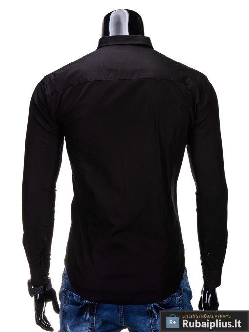 Klasikiniai vyriski juodi marškiniai vyrams ilgomis rankovėmis internetu pigiau K219J nugara