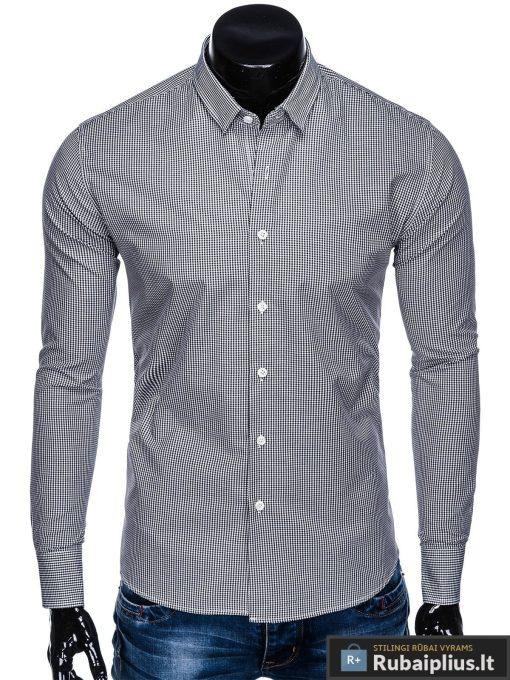 Juodi smulkiai languoti vyriški marškiniai ilgomis rankovėmis vyrams internetu pigiau K435J priekis