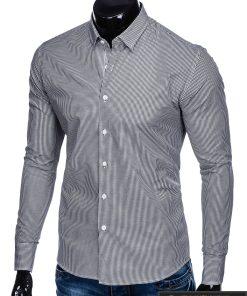 Juodi smulkiai languoti vyriški marškiniai ilgomis rankovėmis vyrams internetu pigiau K435J kairė