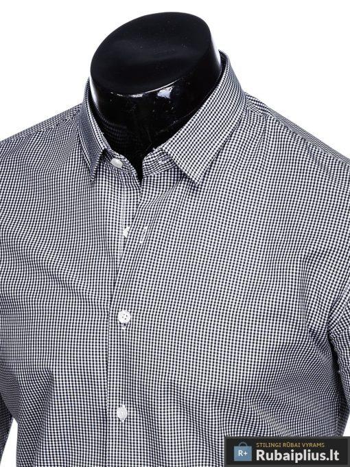Juodi smulkiai languoti vyriški marškiniai ilgomis rankovėmis vyrams internetu pigiau K435J apykaklė