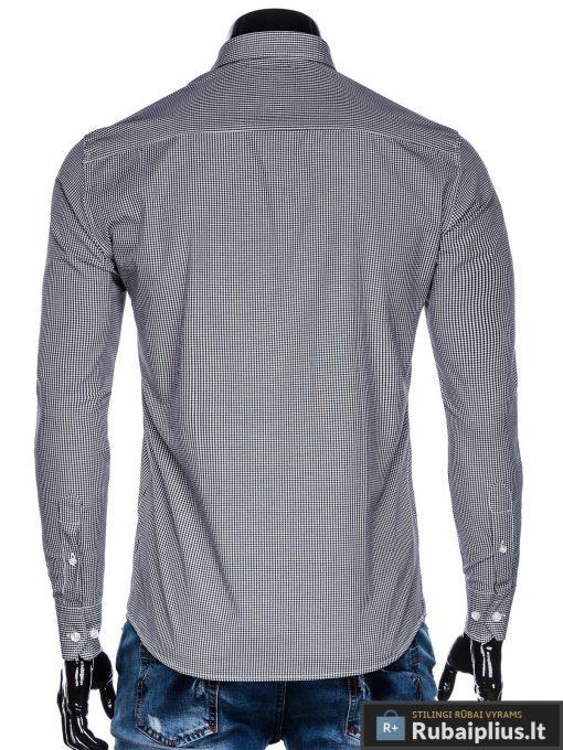 Juodi smulkiai languoti vyriški marškiniai ilgomis rankovėmis vyrams internetu pigiau K435J nugara