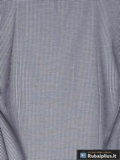 Juodi smulkiai languoti vyriški marškiniai ilgomis rankovėmis vyrams internetu pigiau K435J audinys