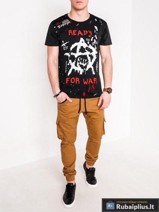 Stilingi juodi vyriški marškinėliai su aplikacija vyrams internetu pigiau S1090J žmogus