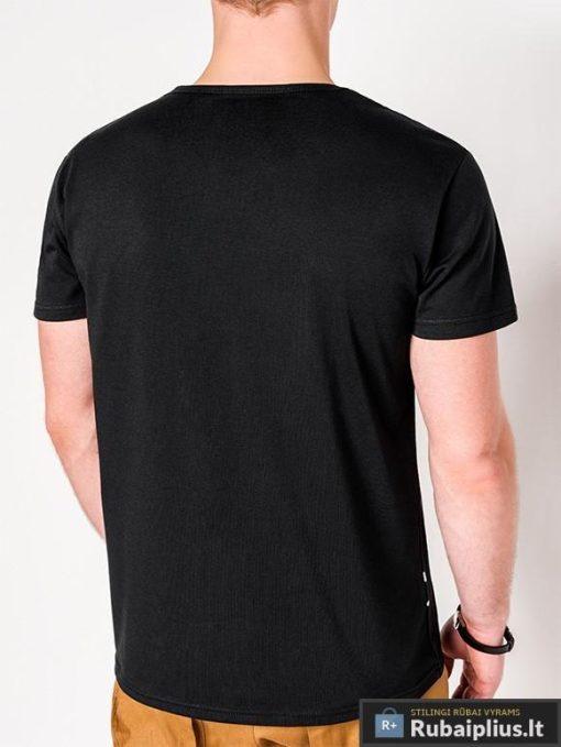 Stilingi juodi vyriški marškinėliai su aplikacija vyrams internetu pigiau S1090J nugara