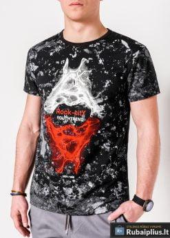 Madingi juodi vyriški marškinėliai su aplikacija vyrams internetu pigiau S1064J priekis