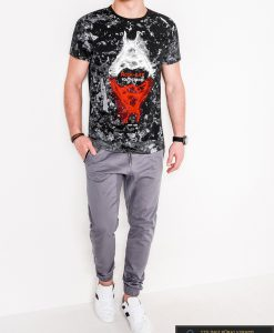 Madingi juodi vyriški marškinėliai su aplikacija vyrams internetu pigiau S1064J žmogus